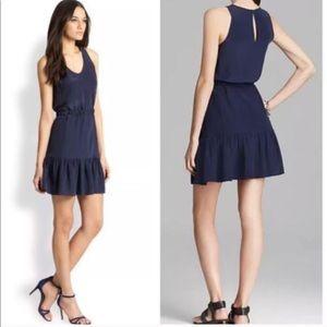 Joie silk navy belted dress